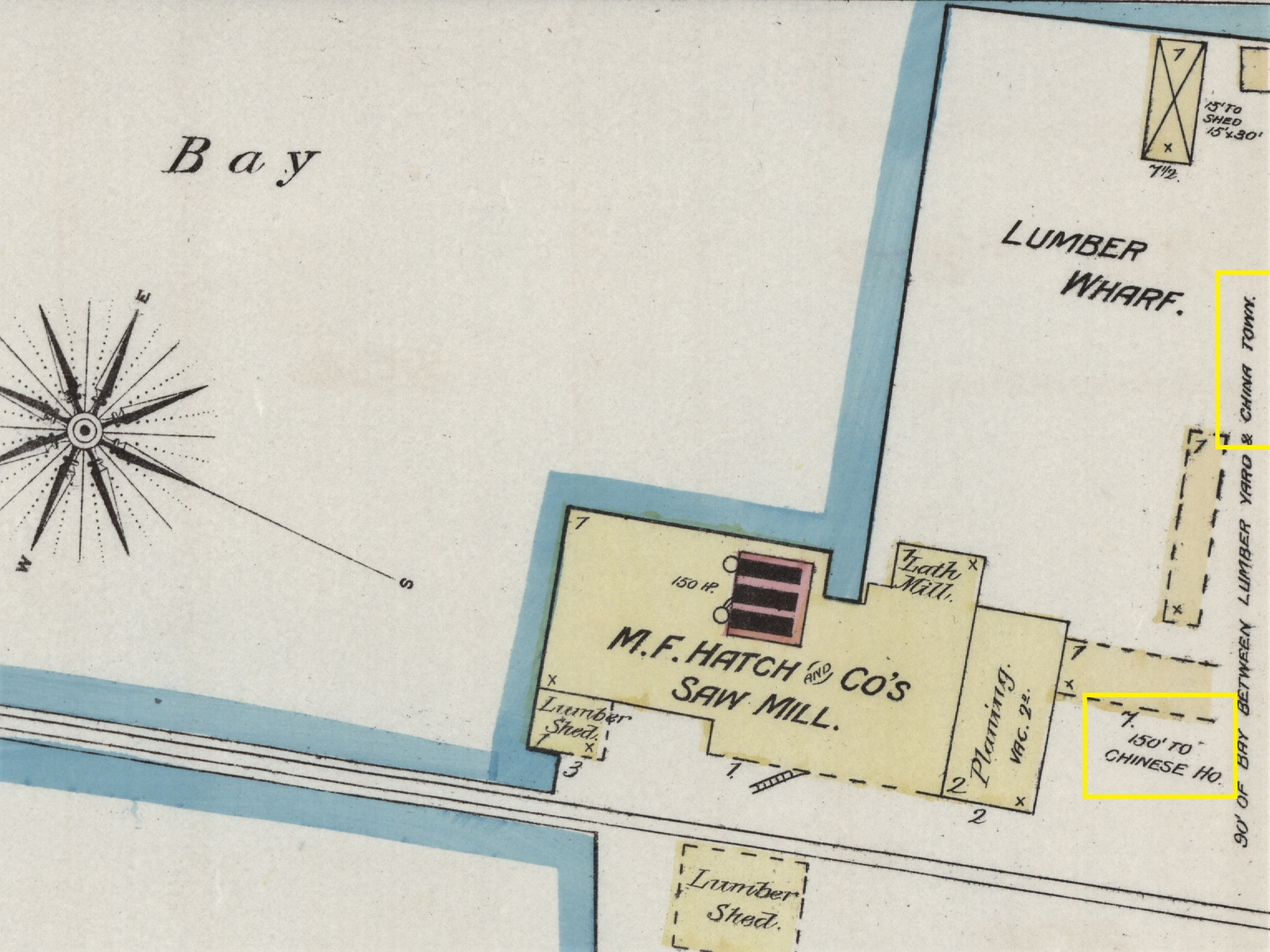 Chinatown & Hatch Mill on 1885 Sanborn Map