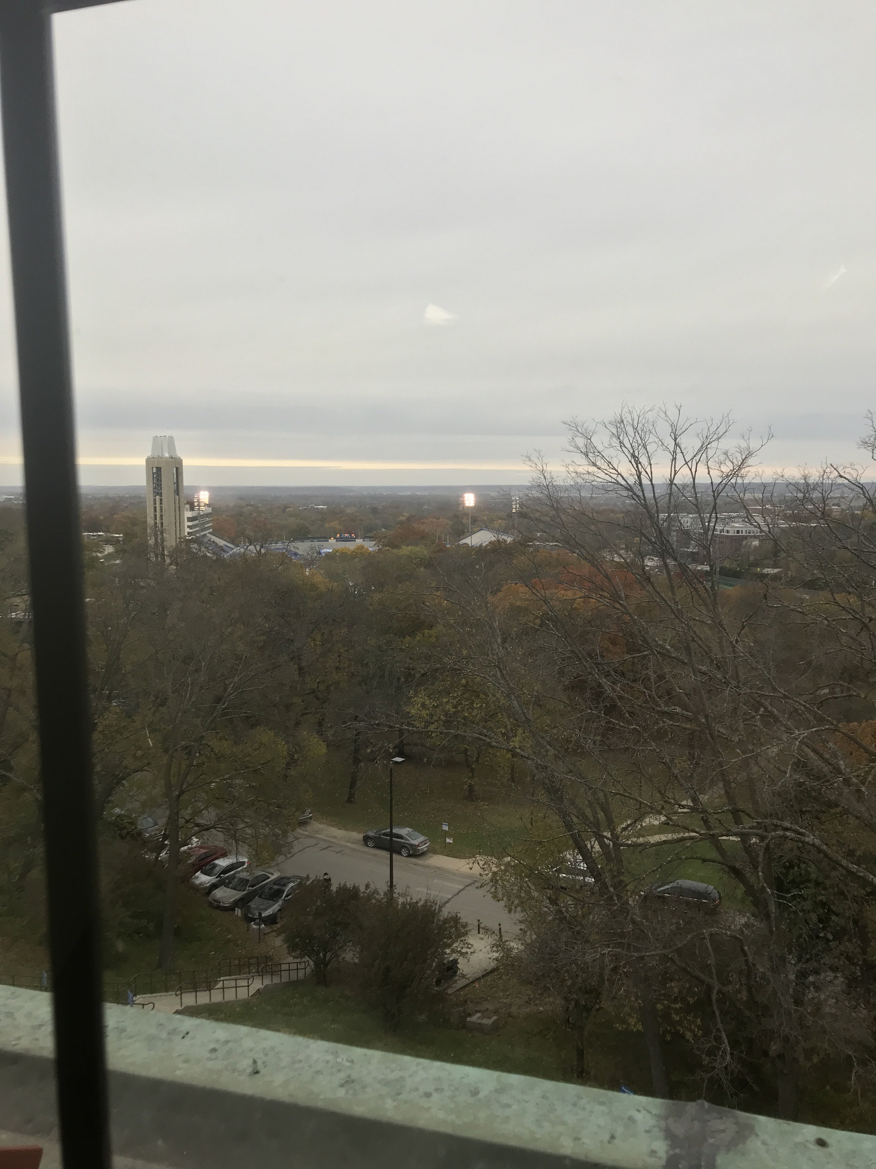 4th floor views from Bailey Hall, from which you can see KU's Memorial Stadium.