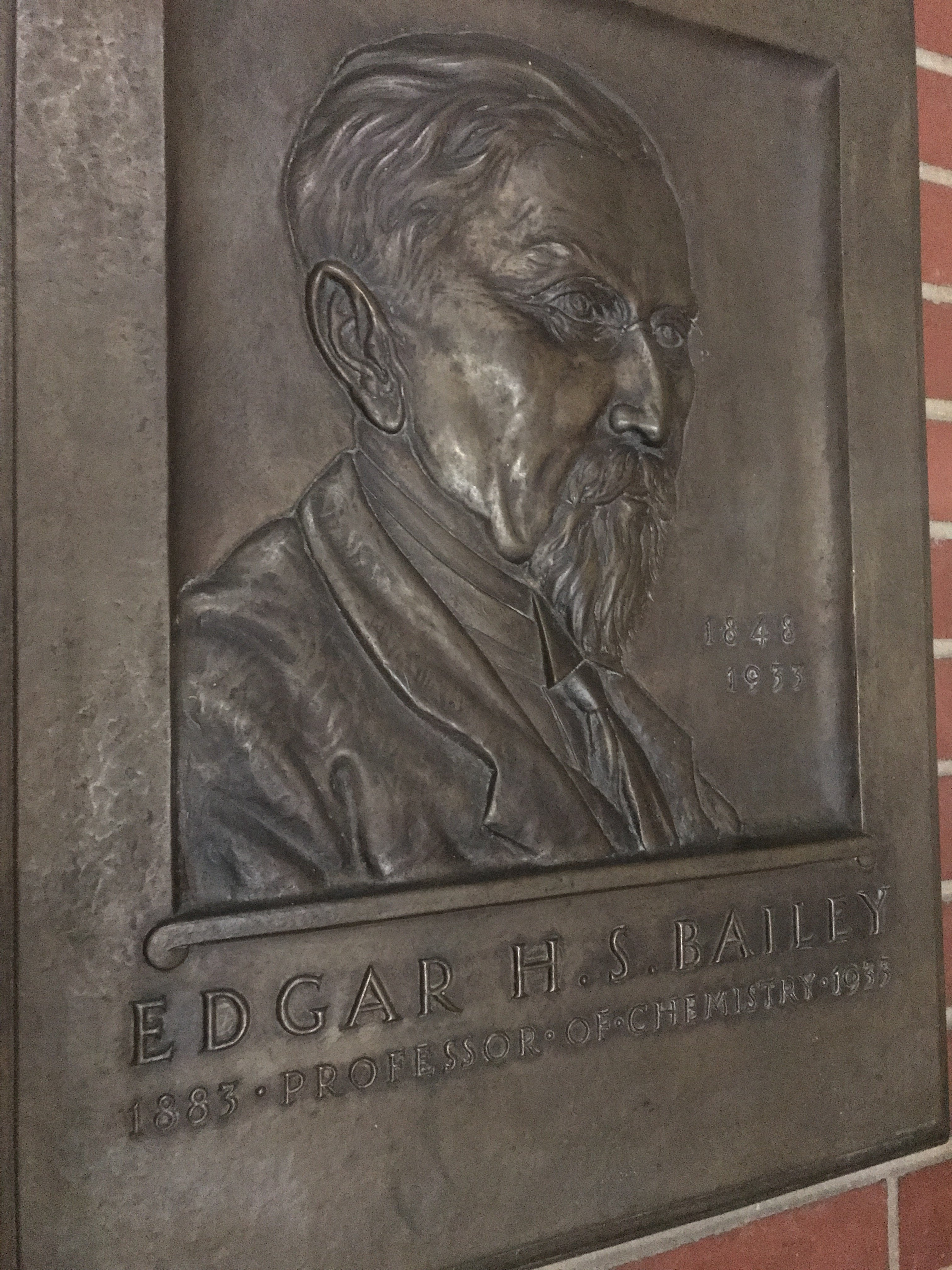 A plaque of Professor E. H. S. Bailey, celebrating the building's namesake.