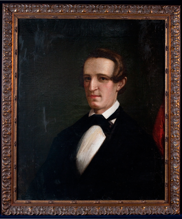 A painted portrait of antebellum Alonzo Slayback, who served as a Confederate Colonel during the Battle of Sedalia. The portrait currently hangs in the Wilson's Creek National Battlefield museum.