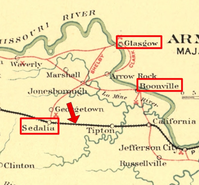 Map showing the positions of Sedalia and Glasgow on Price's march from Boonville. Courtesy of Craig Swain.