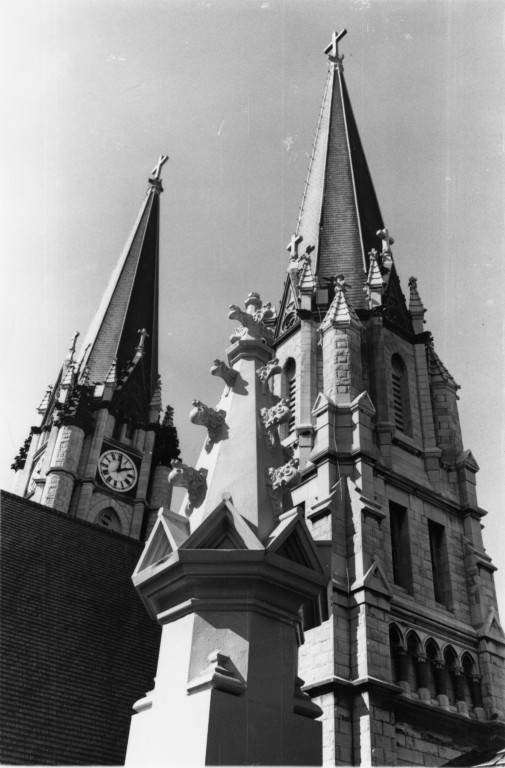 Detailed view of the Gesu Church spire 