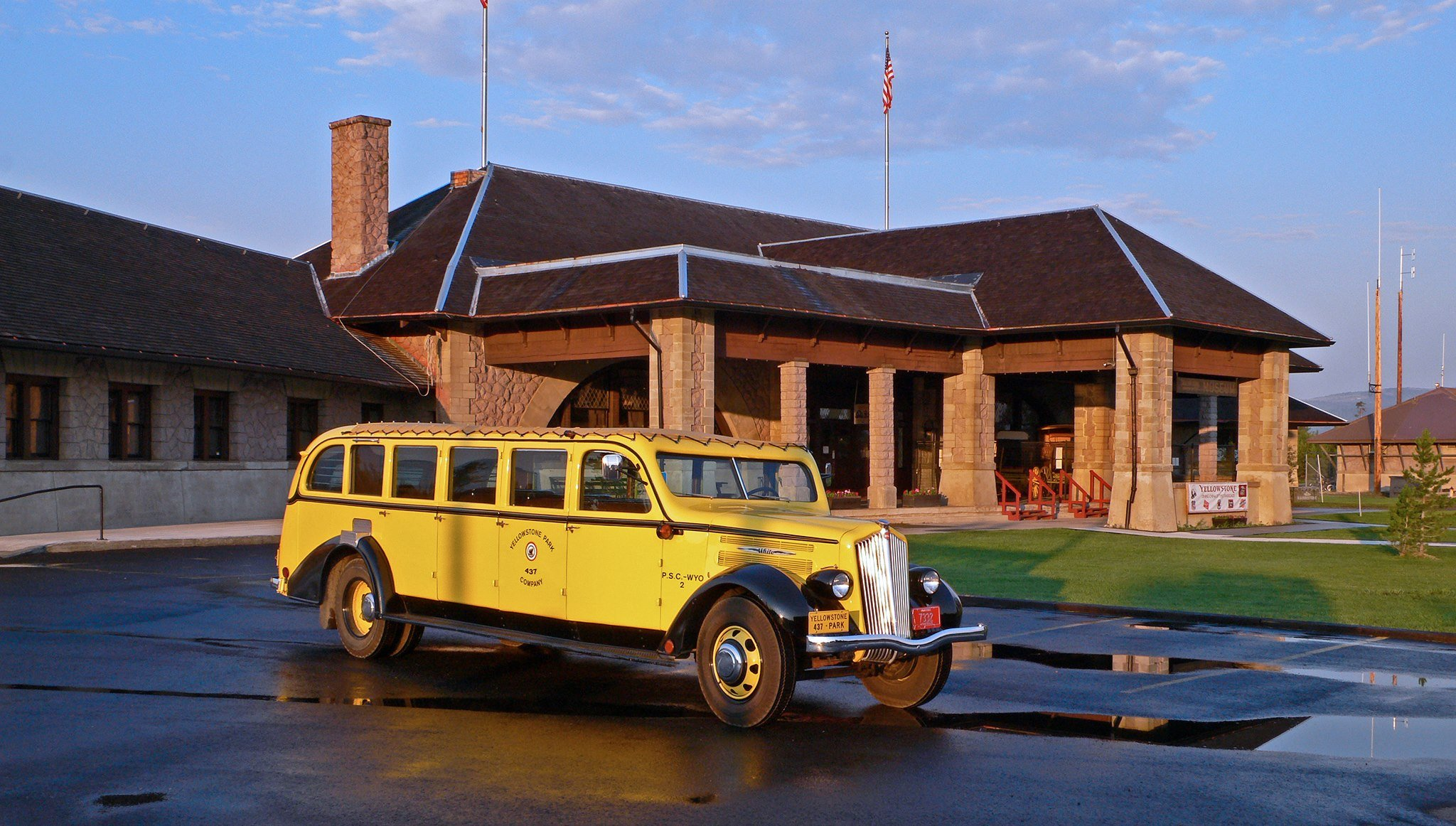 Today, the old depot building is used to house the Yellowstone Historic Center Museum. In front of the museum sits a 1938 White Motor Model 706 bus, used as a tour bus in Yellowstone National Park.