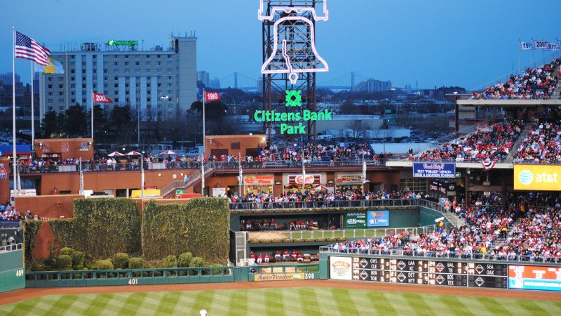 Neon Home-Run Liberty Bell in the Outfield. Courtesy of Philadelphia Phillies/ MLB