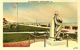1918 postcard of original Norwegian Lady Statue