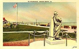 1918 postcard of original Norwegian Lady Statue