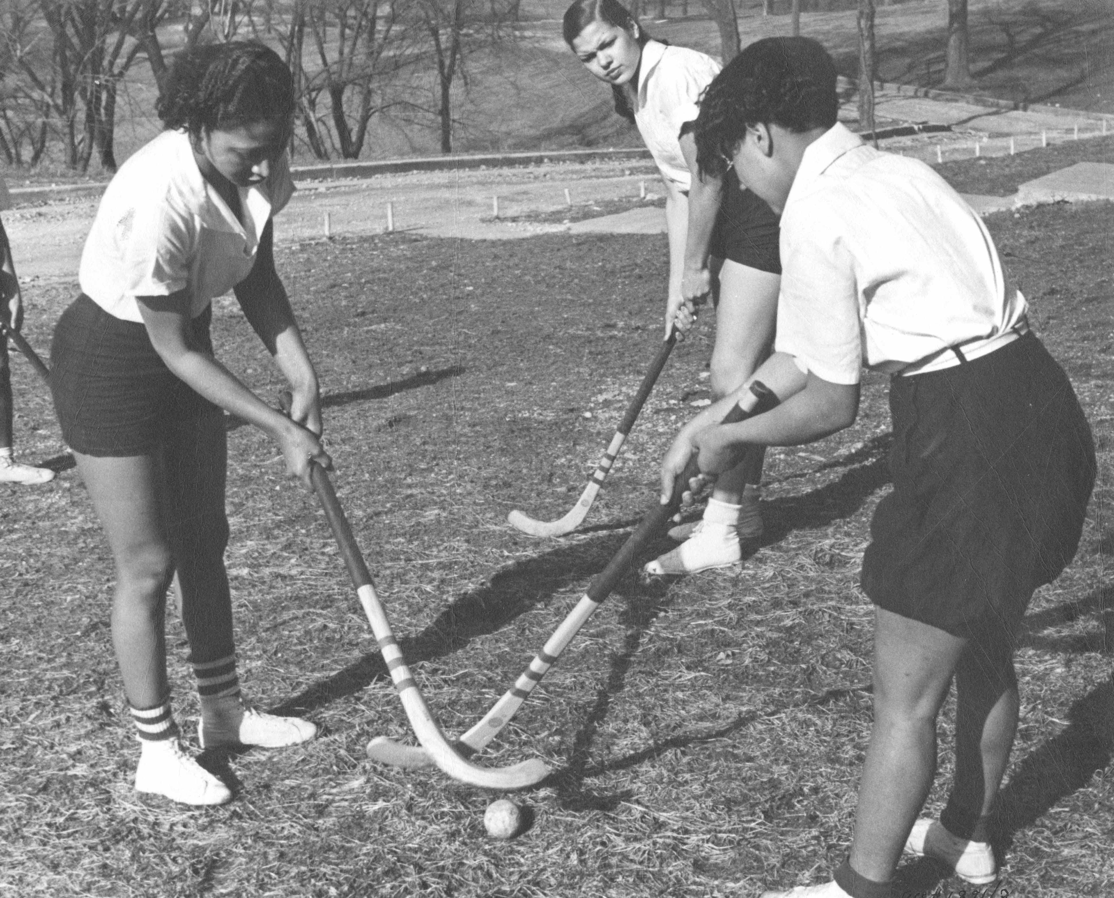 Ladies playing field hockey at Lincoln University, c. 1937