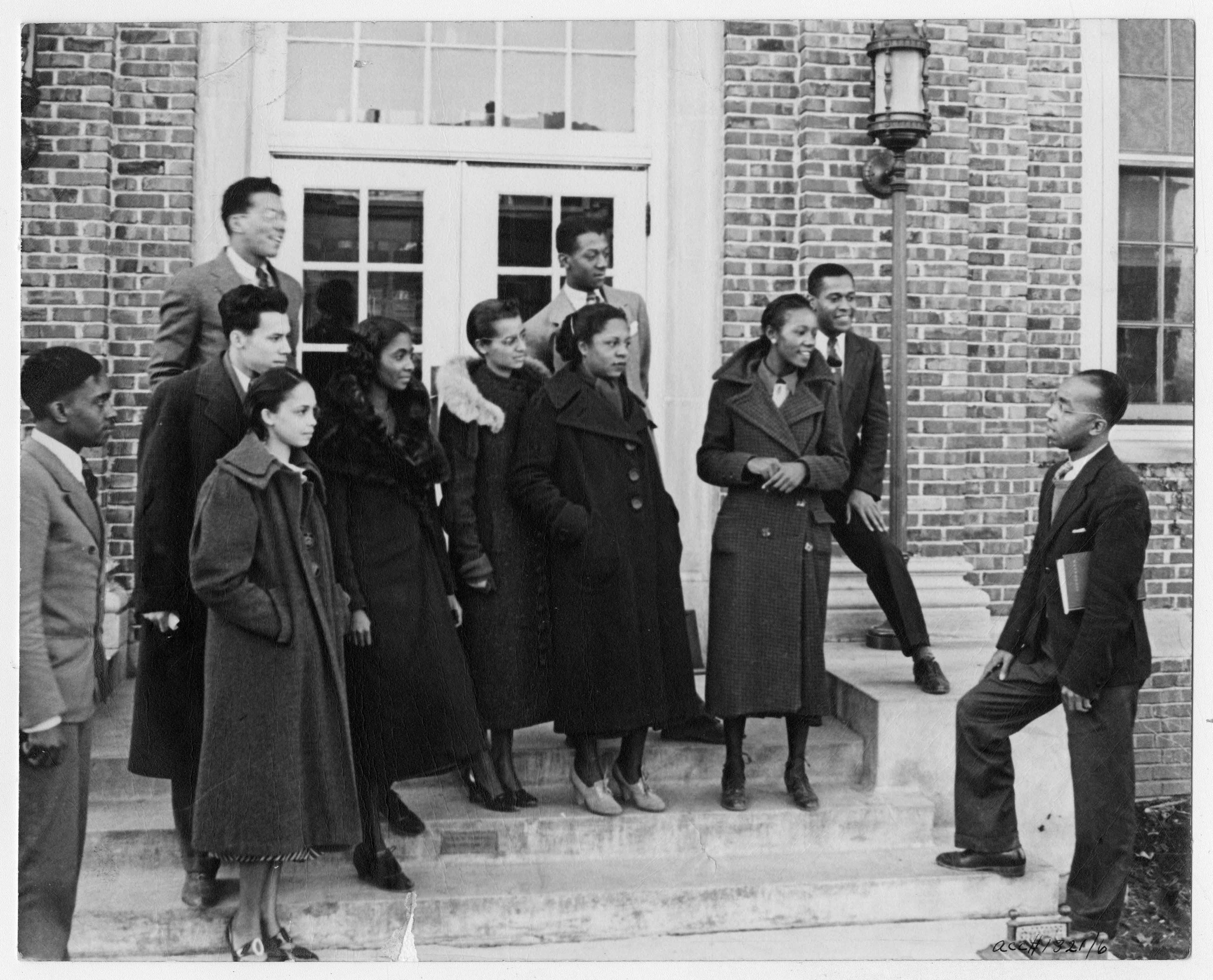 Students gathered outside a building at Lincoln University, c. 1937