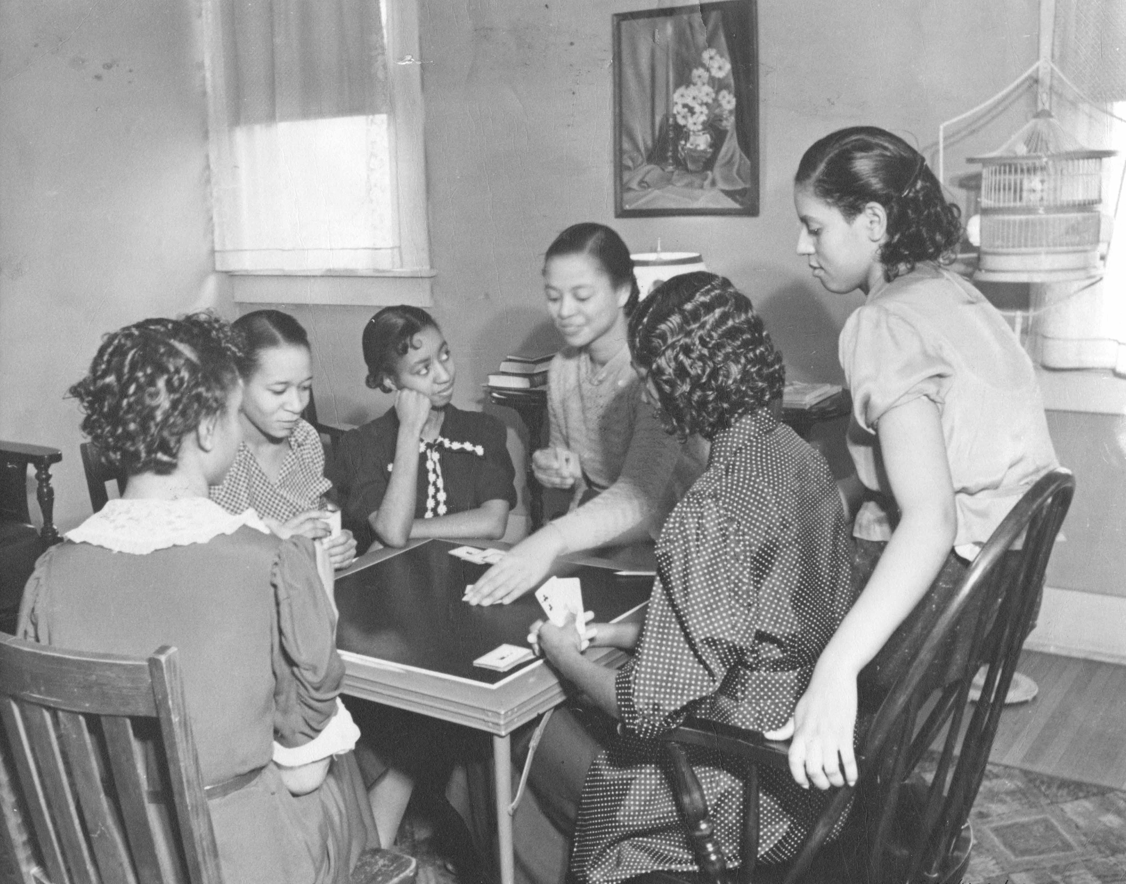 Ladies playing cards at Lincoln University, c. 1937