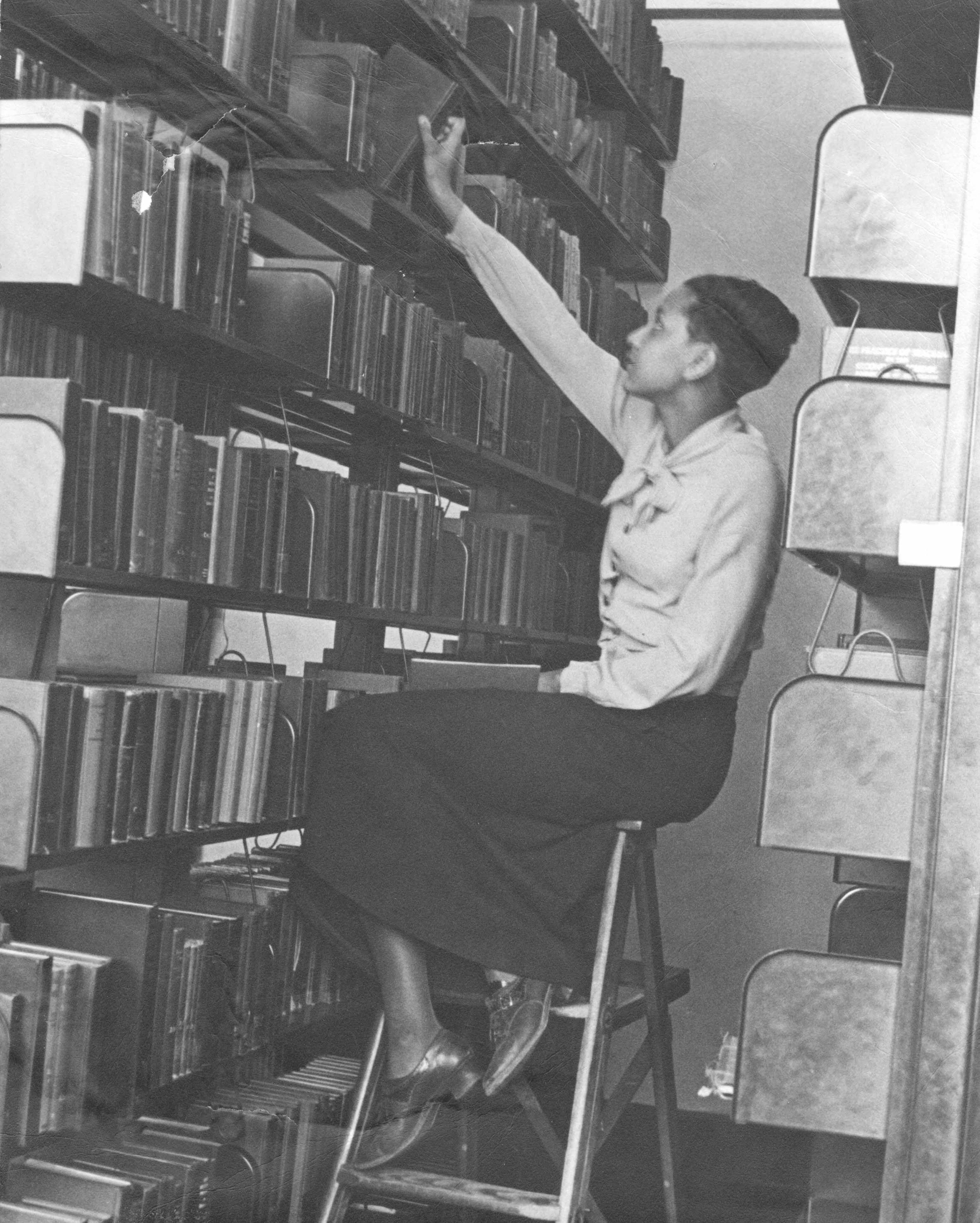 Library stacks at Lincoln University, c. 1937