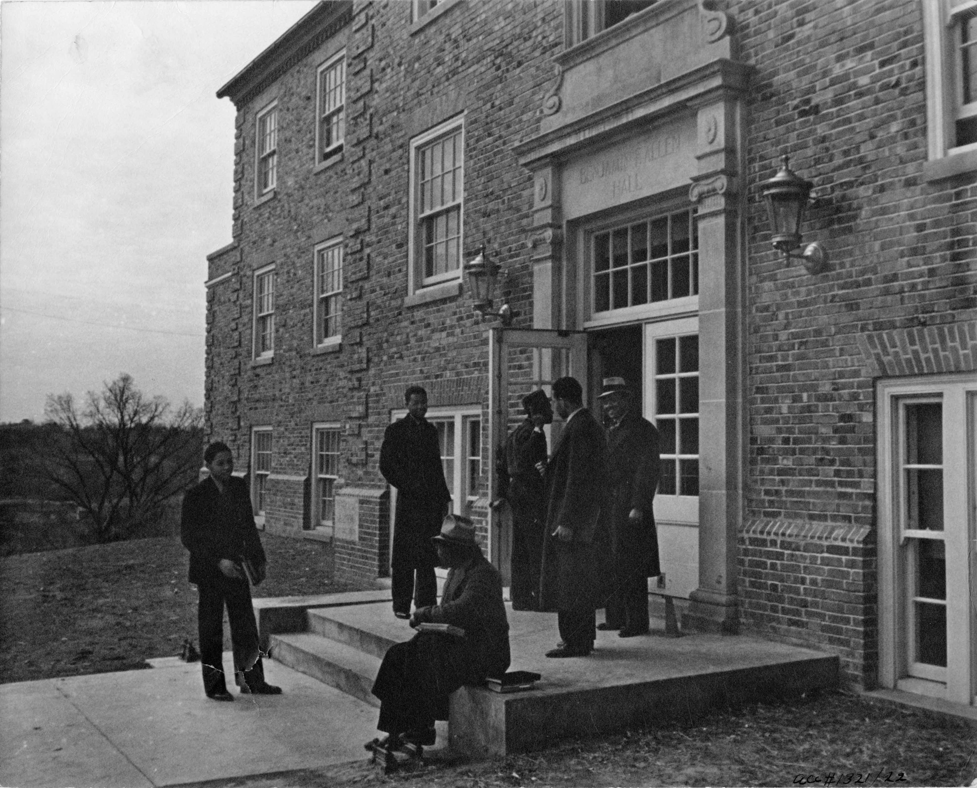 Students gathered outside Benjamin Allen Hall at Lincoln University, c. 1937