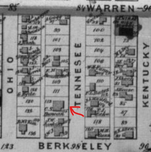 C.S. Duncan House (red arrow) on 1873 Beers Atlas map of Douglas County, p. 33