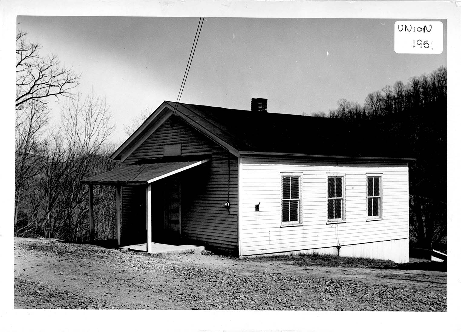 Union School at its original location in Cabell County, likely in the 1950s.