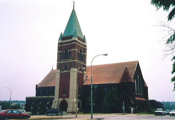 Exterior view of St. Mary's Episcopal Church, with tower