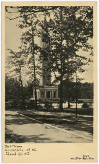 An old postcard featuring UNC's Bell Tower.