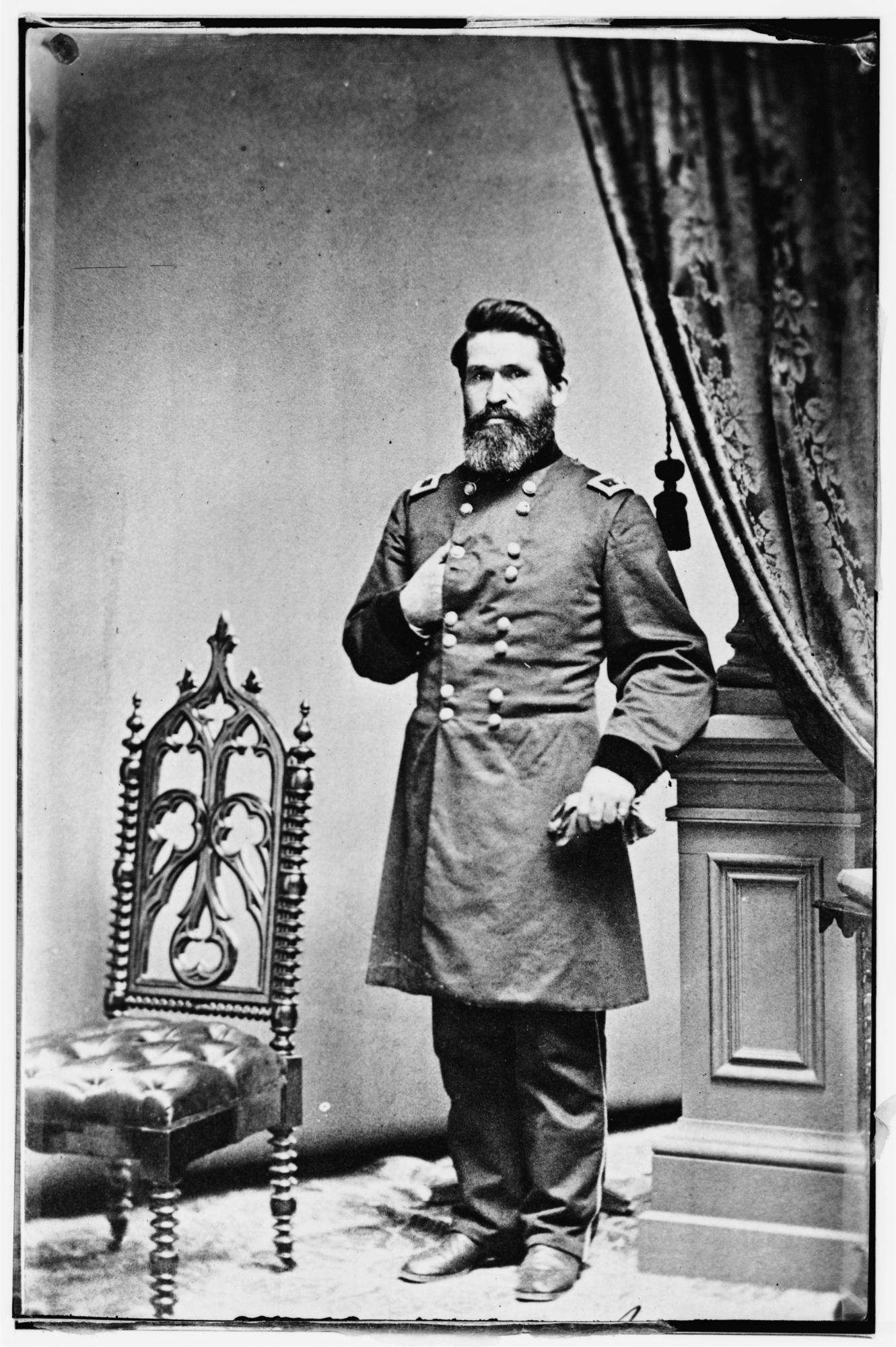 Union General James G. Blunt, who put up a stubborn defense against Sterling Price at Lexington and again later, at the Battle of Little Blue River. Blunt would play a pivotal role at Westport, and later pursue Price to the Arkansas border.