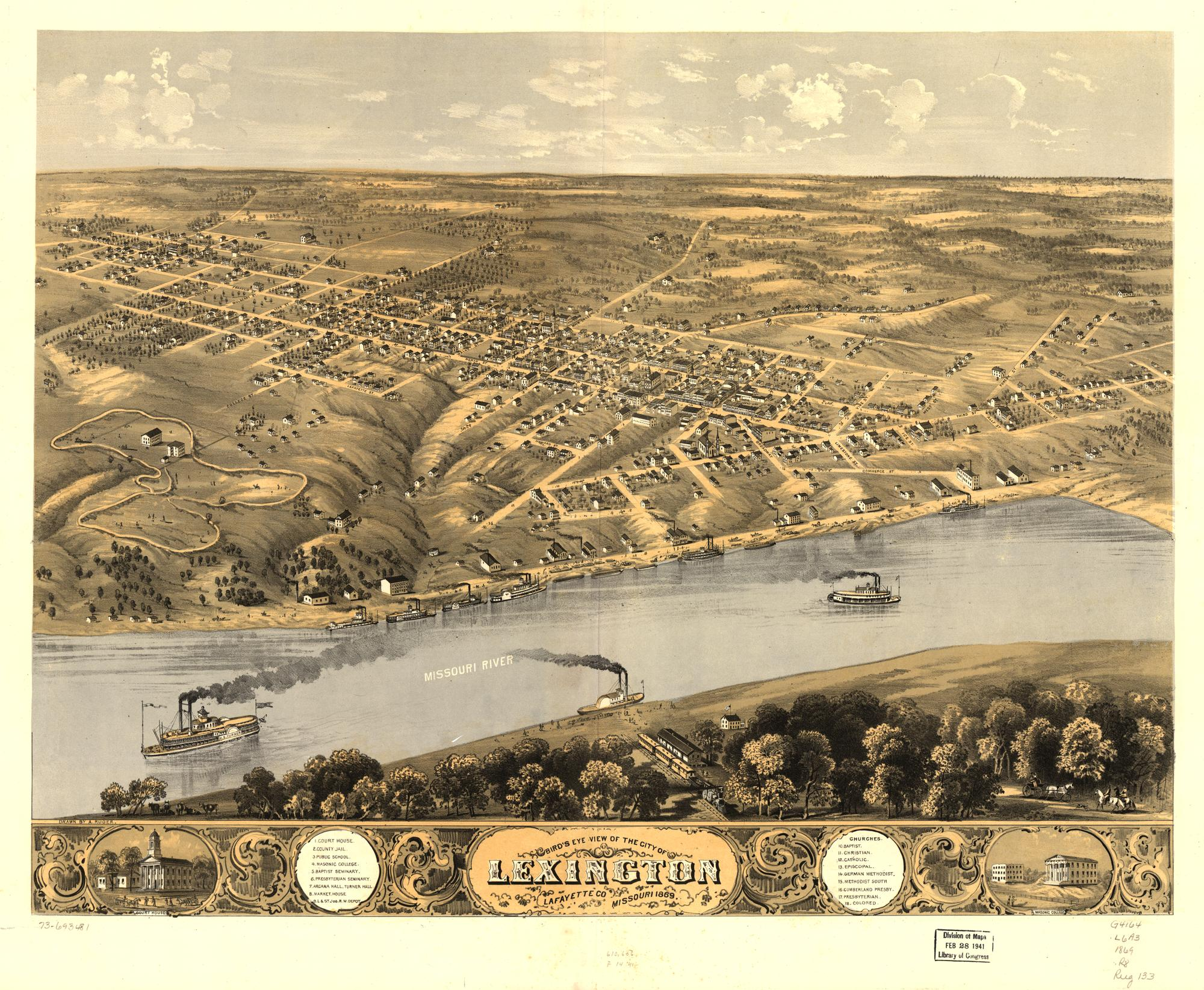 An artist's aerial view of Lexington only a few years after the war. Lexington was Missouri's fourth largest city at the time.