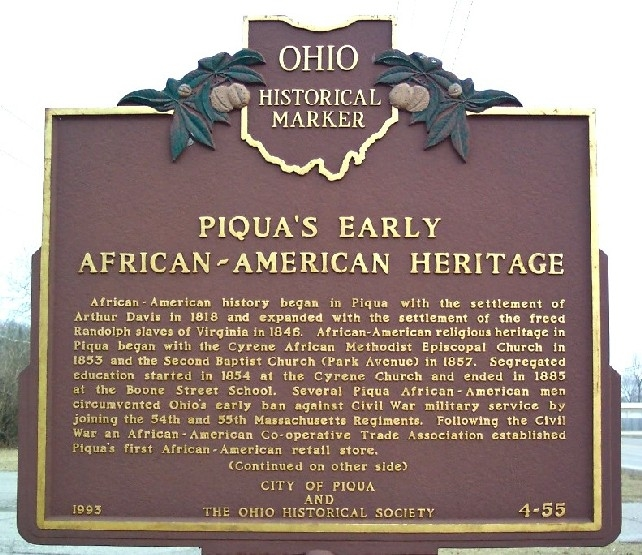 Piqua's Historical marker side A