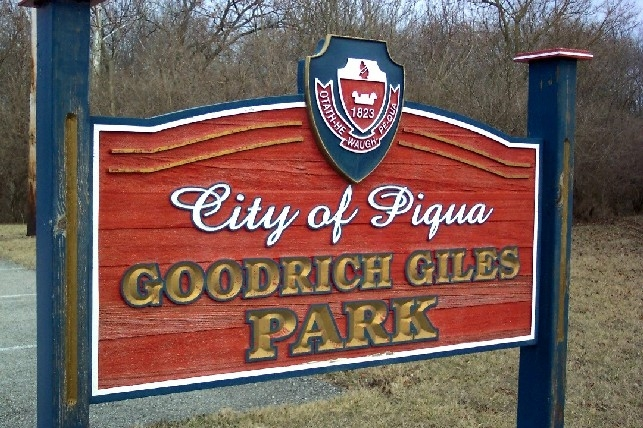 The sign for nearby park dedicated to local black business leader Goodrich Giles.