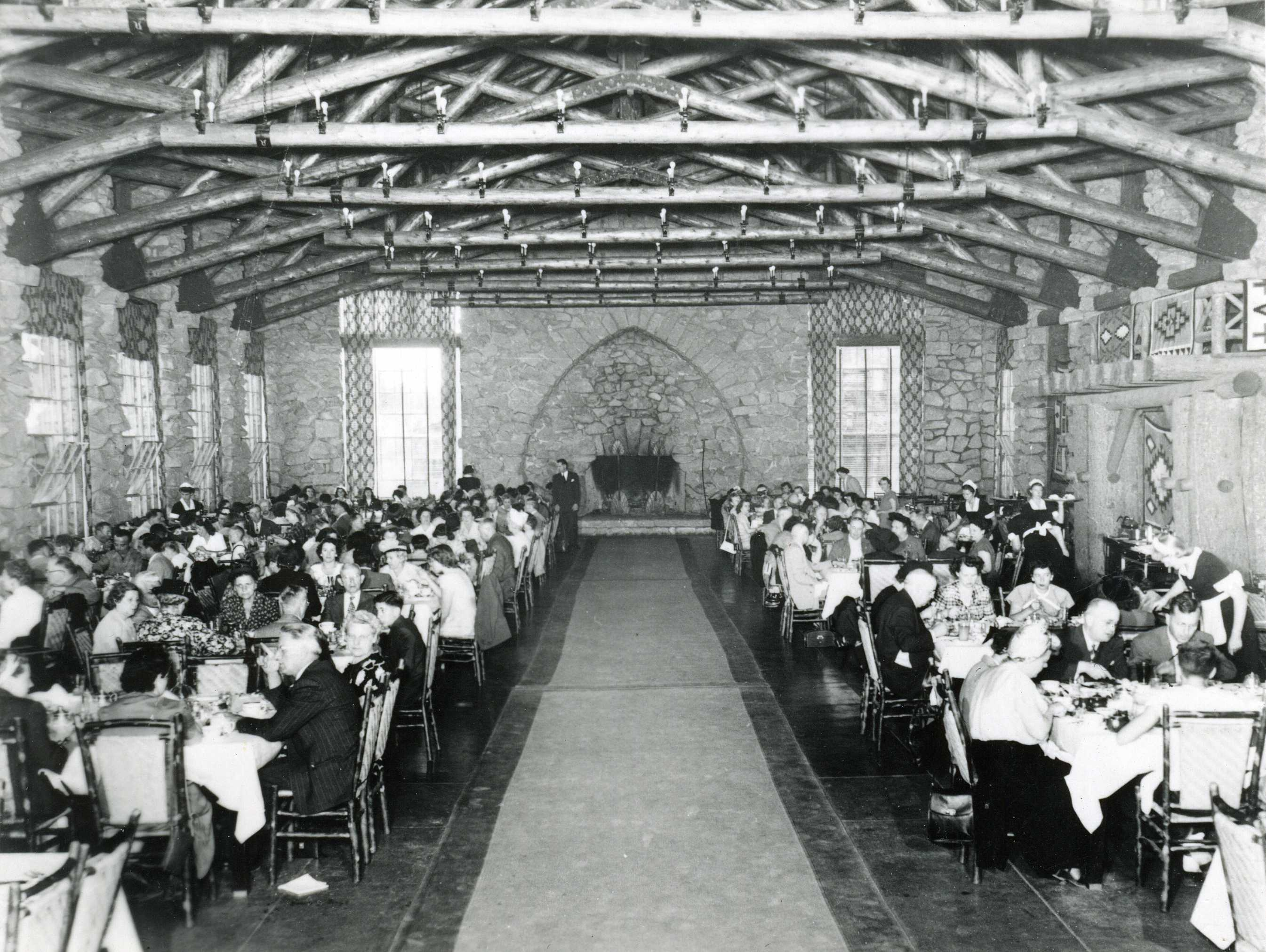 Historic photo of the Dining Lodge in use.