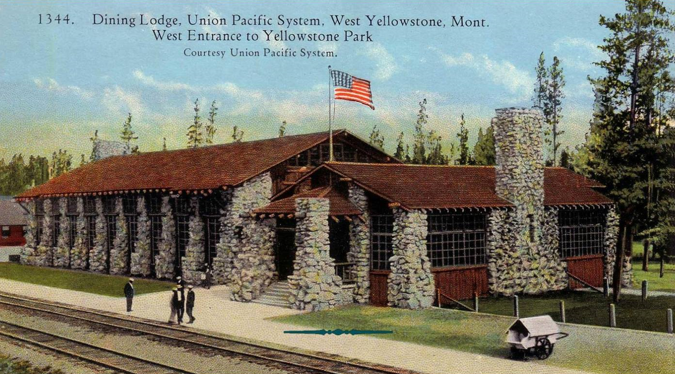 Historic postcard of the Dining Lodge.