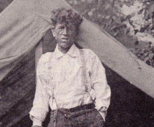 George Rashid in front of his tent just outside of Pickens, West Virginia. 1906.