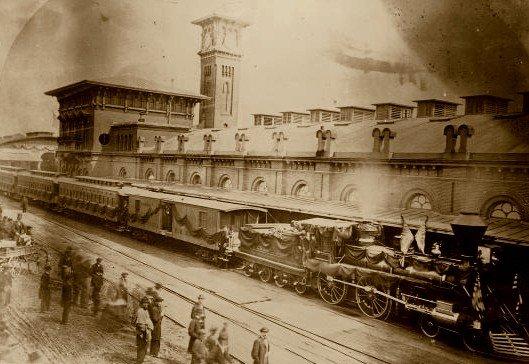 A Civil War Era photograph of the 1857 Harrisburg Train Station.