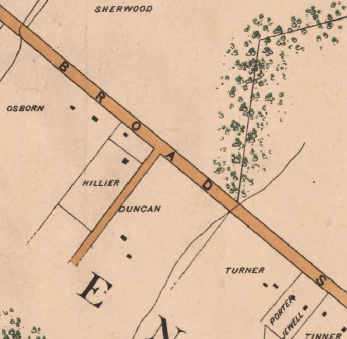Duncan property, Mount Hope, on 1890 Noetzel map of Falls Church