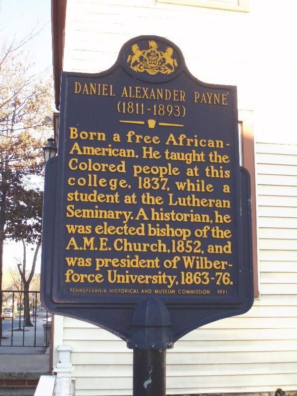 Historical marker in Gettysburg honoring Daniel Payne.