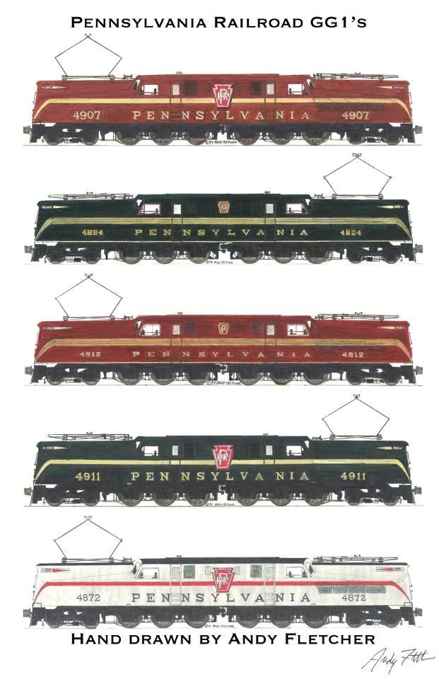 Several GG1s with various color schemes.