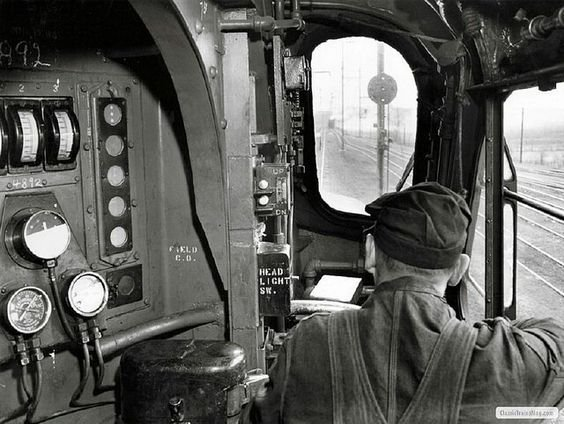 Inside the cab of a GG1.