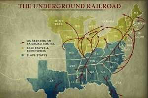 A map showing the different routes taken by escaped slaves through the Underground Railroad.