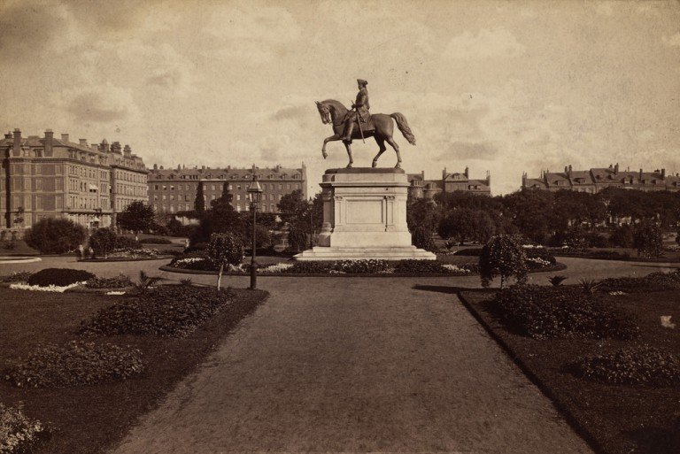 The statue, sometime in the 1800s. (Courtesy of the Boston Public Library.)
