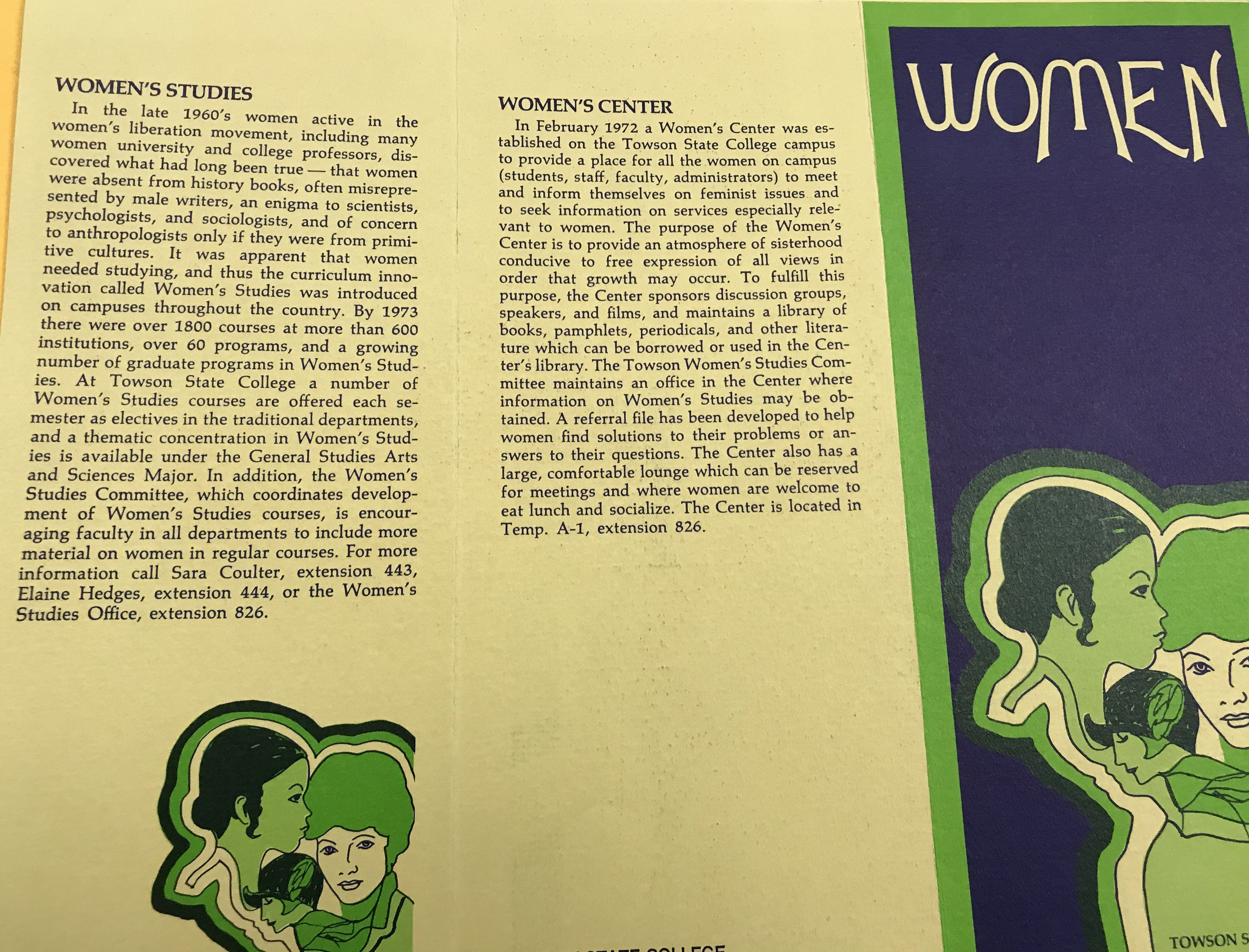 Pamphlet: TSC Women's Center Board & Women's Studies, Towson University Archives Box 44 Folder 8 UAO30000 Women, 1972.