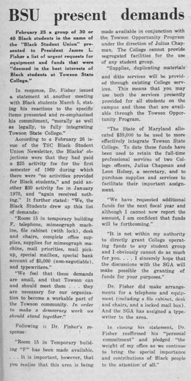 The article detailing the protest that helped allocated a space, supply items for, and produce funds for the Black Student Union in the 1970s.