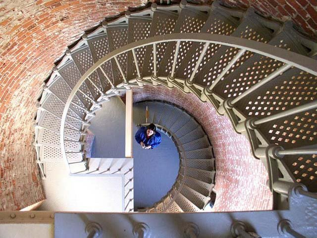 This is the inside of the Cape Blanco Lighthouse. Here the spinal stairs lead you to the top of the lighthouse that is 50 feet tall.