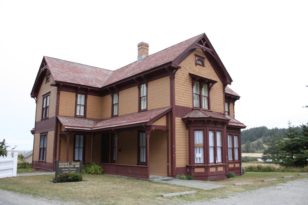 The Hughes House was built in 1898 by P. J. Lindberg. This house was built for Patrick and Jane Hughes and their children. This two-story home was an addition to their dairy farm and ranch.