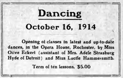 Newspaper advertisement for dancing lessons at the Rochester Opera House, 1914