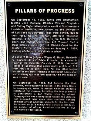 Historical marker for Pillars of Progress