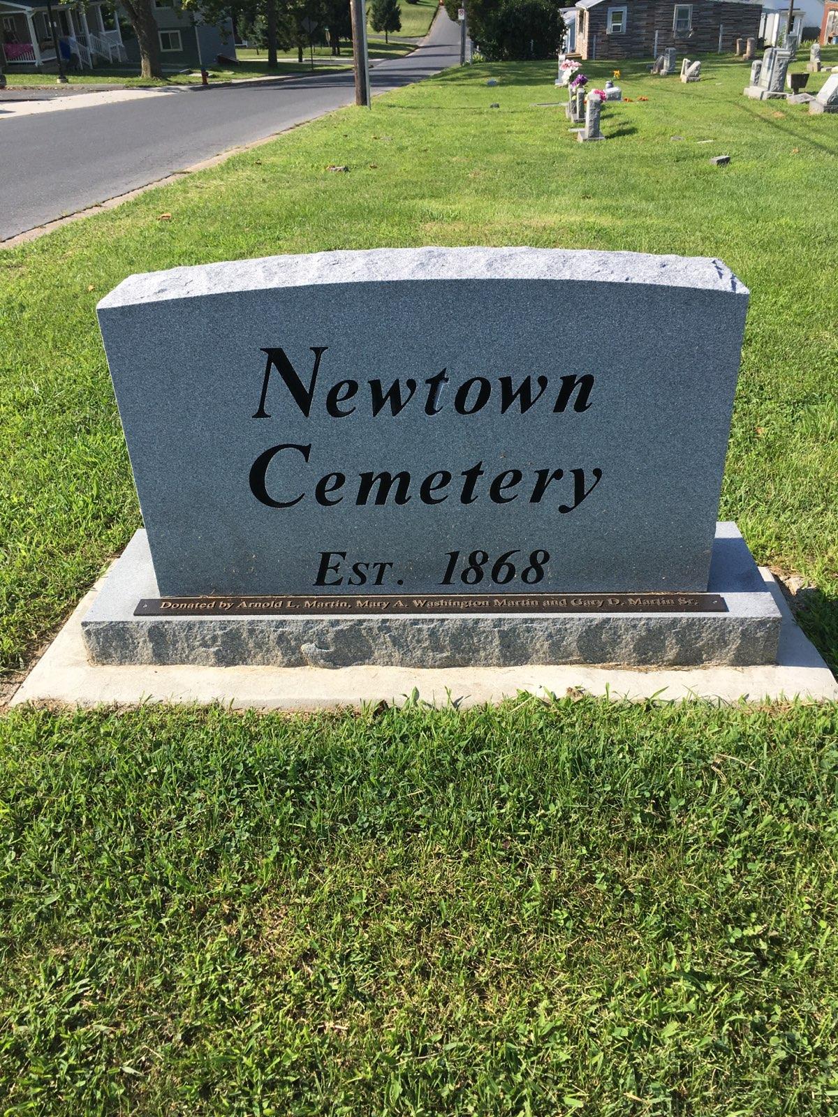 Newtown Cemetery grave marker.