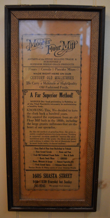 Early advertisement, now framed on the wall at Moores' Flour Mill