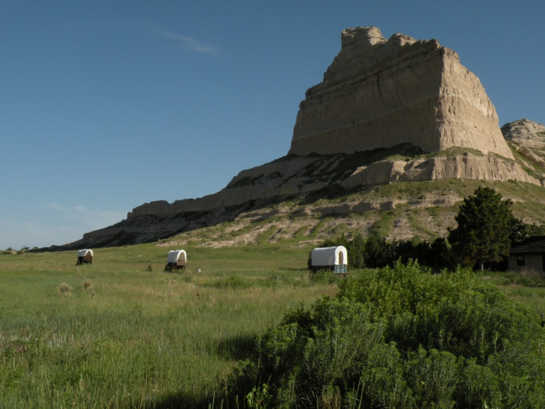 Scotts Bluff National Monument was created in 1919. The rock outcropping in the background is Eagle Rock.