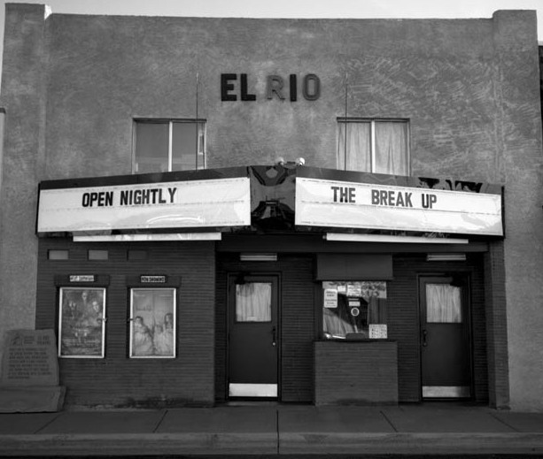 The entrance to El Rio Theatre of Springerville, Arizona, advertising the current nightly show playing.