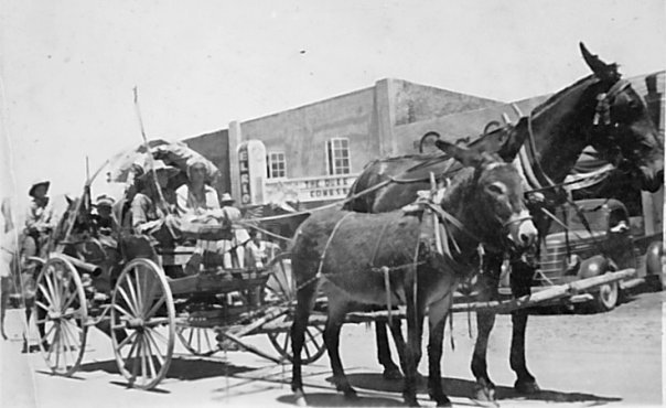 A horse-drawn carriage stands in front of El Rio Theatre as they travel through the Western United States.