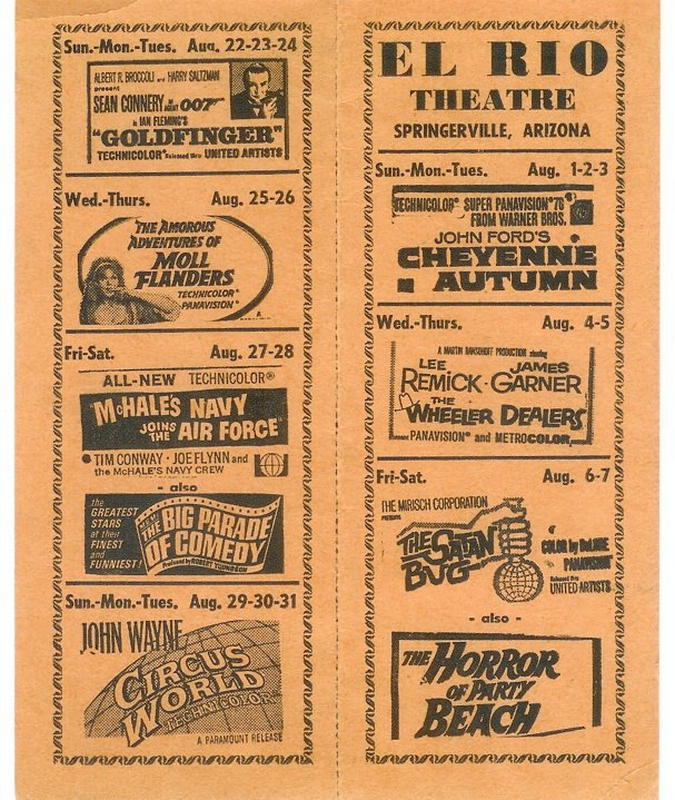 Announced on advertisements such as these, El Rio informed the townspeople of the movies playing each month.