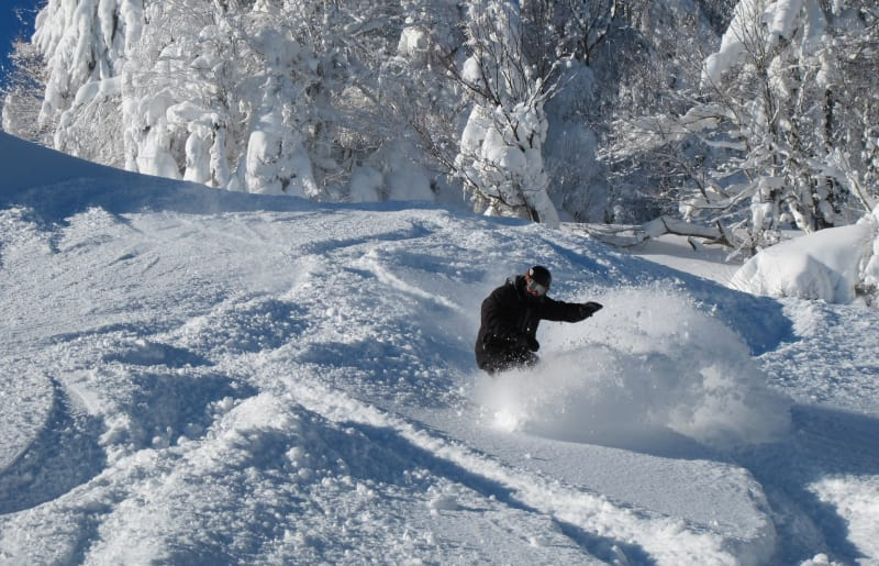 skiers/snowboarders enjoying the natural base that snowshoe provides.
