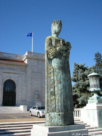 The Queen Isabella statue is located outside of the Organization of American States building.