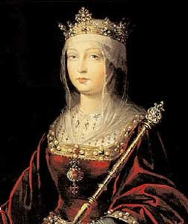 Isabella of Castille poses for her portrait, demonstrating her royal jewels, scepter, and wardrobe she was renowned for by her constituents.
