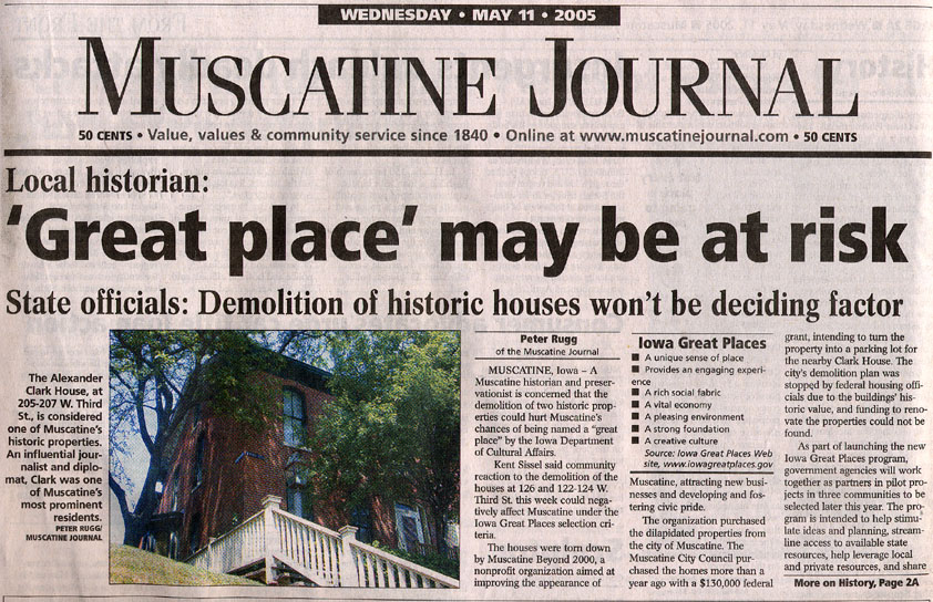 Article from the Muscatine Journal discussing the possible demolition of the Alexander Clark House.
