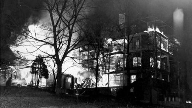 Photo depicting the tragic fire that took place on March 10, 1948. The fire claimed the lives of nine women including author, painter, and dancer Zelda Fitzgerald.